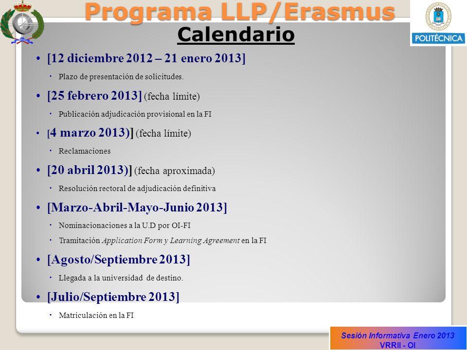 Programa LLP/Erasmus Calendario [12 diciembre 2012 – 21 enero 2013]
